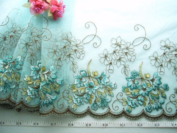 Embroidered lace, sky blue tulle trim, brown flowers,  1 3/4 yards BL006