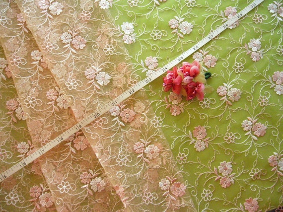 "Embroidered tulle fabric brown net pink and ivory flowers 50"" x 28"" FB022"