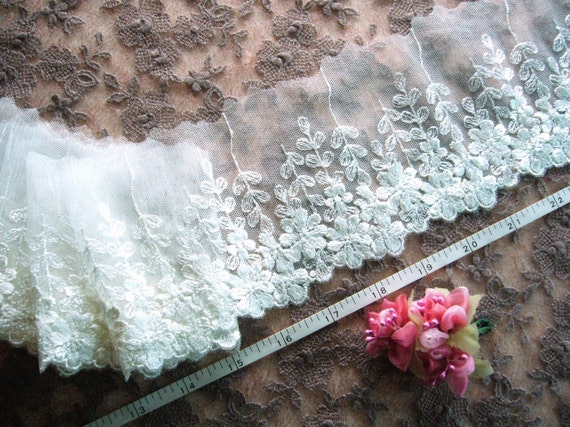 White lace trim, Embroidered lace, Bridal lace, Doll trim, Tulle lace, Net fabric, 2 yards WT171L