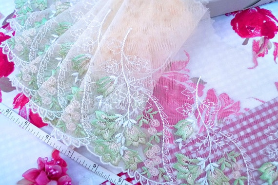 Lace fabric, Lace trim, Embroidered lace, Tulle trim, Net trim, Doll lace, Bridal lace, Floral lace, Yellow lace trim, 1 3/4 yards YL024