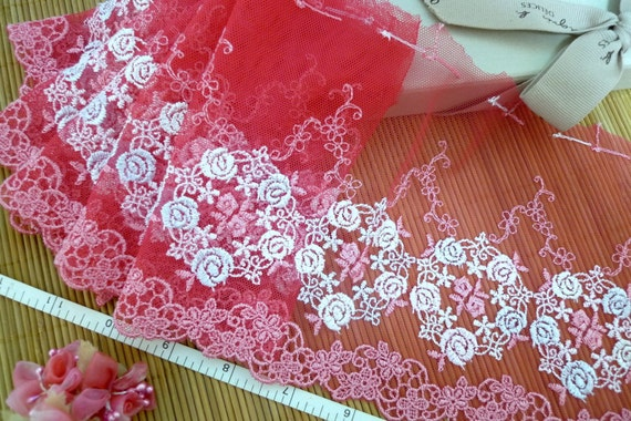 Christmas sale, Embroidered lace, Lace trim, Red lace, Tulle lace, Lolita lace,  2 yards RD126