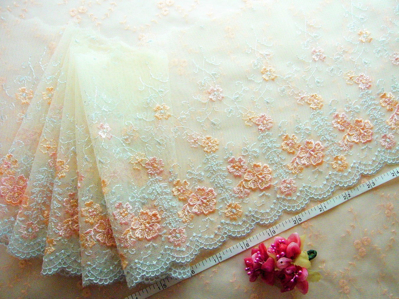 Embroidered tulle lace floral trim net fabric ivory