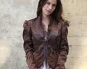 ON SALE  Victorian Jacket in Brown Printed Leatherette