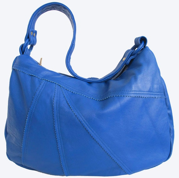 Recycled Vintage Leather Electric Blue Medium Hobo Handbag