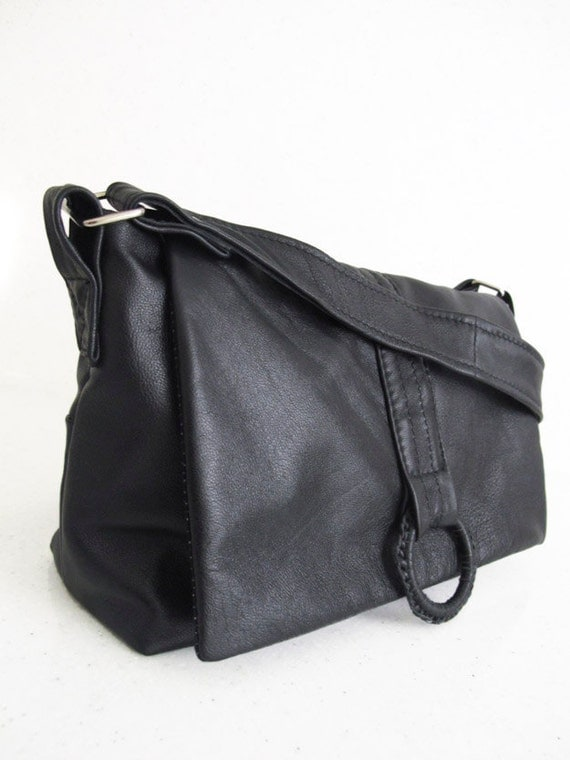Small Recycled Leather Messenger Bag : Slouchy Soft Black Festival Bag