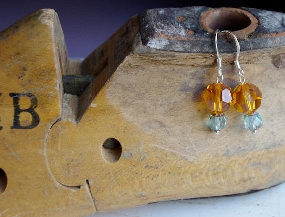 Sparkling handmade SWAROVSKI crystal dangle earrings on STERLING silver ear wire BRIDESMAIDS