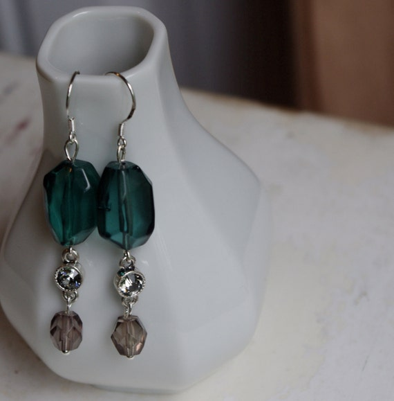 Upcycled Sterling Emerald Green and Gray Dangle Earrings as seen on TV with Free shipping