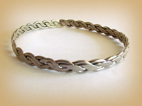 Vintage Mexican Sterling Silver Braided Bangle