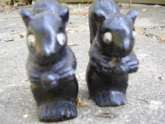Carved Coal Squirrels