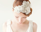 Wedding Hair Accessory, Bridal Head Piece, Rhinestone Headband, crystal flapper, ivory, silver, velvet - Heart Whispers