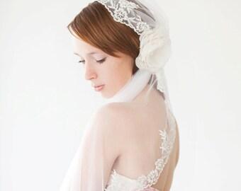 Wedding Veil, Beaded Lace Mantilla Ivory Bridal Veil - Everlasting Love - Made to Order