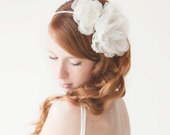 Wedding Headband, Silk Flower Headband, Bridal Headpiece, Bridal Headband, Floral Headpiece, Floral Headband, Ivory Headband - Forever Love
