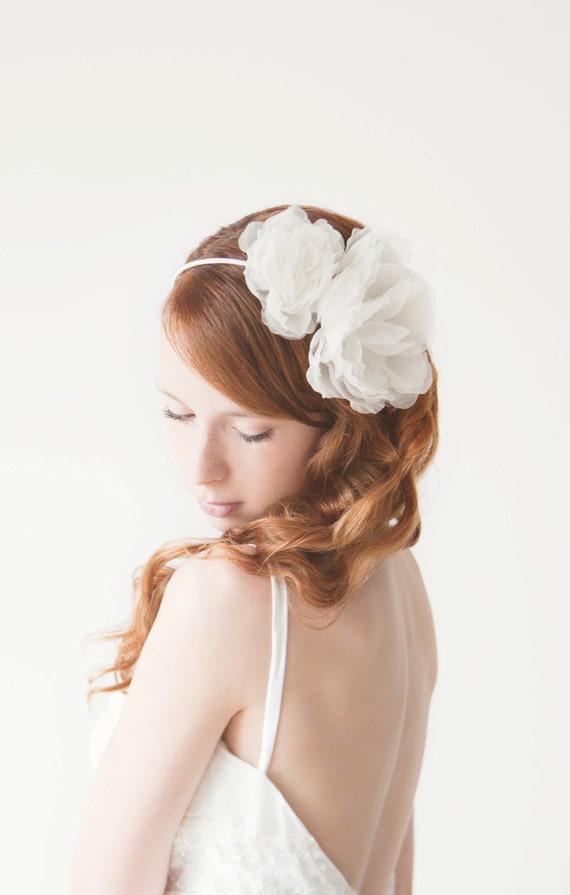 Wedding Headband, Floral headband, Bridal, Head piece, ivory - Forever Love