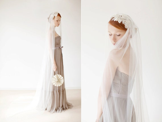 Bridal Veil, Tulle Veil, Long Veil, Chapel Veil, Cathedral Veil, Ivory Veil, Wedding Veil, Traditional Veil, Simple Veil - Idyllic