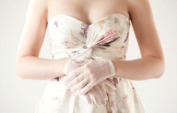Wedding Accessory, Bridal Gloves, Wedding Gloves, Dotted Gloves - Lovely