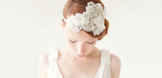 Wedding Hair Accessory, Bridal Head Piece, Rhinestone Headband, crystal flapper, ivory, silver, velvet - Heart Whispers
