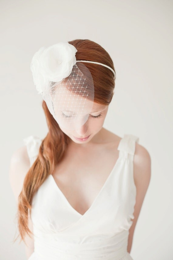 Bridal Flower Headband, Wedding Hair Accessory, Floral Headband, veil - Blushing Dreams - Made to Order