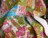 Gorgeous bright railfence patchwork quilt