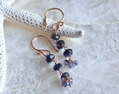 14kt Rose Gold Fill and Iolite and Labradorite Dangle Earrings - Water Sapphire - Ready to Ship