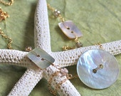 14kt Yellow Gold Fill, Blue Agoya Buttons, and Smokey Quartz Necklace - Button Button - Ready to Ship