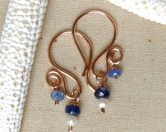 Ruby, Sapphire, or Emerald and Sterling Silver, 14kt Yellow or Rose Gold Fill Earrings
