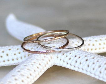 Shimmering Micro Skinny Band Sterling Silver 14kt Yellow or Rose Gold Fill Stacking Ring Wedding Ring Promise Ring Midi Fitted Toe Ring