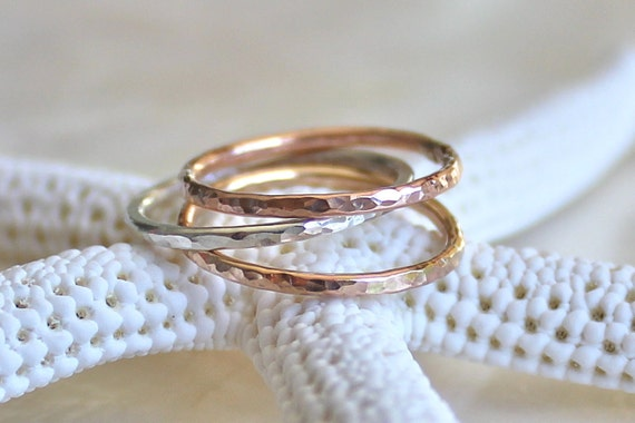 Shimmering Skinny Band of Sterling Silver , 14kt Yellow or Rose Gold Fill, Stacking Ring, Wedding Ring, Promise Ring, Fitted Toe Ring