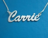 Brush Script Name Necklace, sterling silver name necklace, custom personalized any name or word