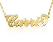 Carrie Gold Plated Name Necklace with your name, any name of your choice, up to 7 letters
