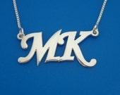 Block Monogram Necklace, Silver Monogram Necklace, Block Font Monogram Necklace, Monogrammed Gift, Necklace with Initials