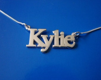 Name Necklace with ANY NAME up to 13 letters, solid sterling silver, chain included