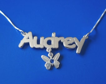 Cartoon Font Name Necklace with Swarovski Birthstone and dangling charm butterfly, double thick silver, names up to 13 letters