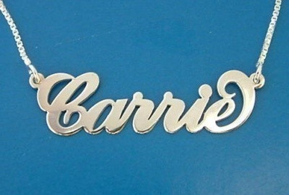 Carrie Name Necklace - Silver Name Necklace - Custom Name Necklace - Nameplate Necklace - Name on Chain