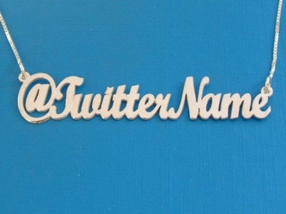 Twitter Name Necklace in double thick silver, any twitter user name