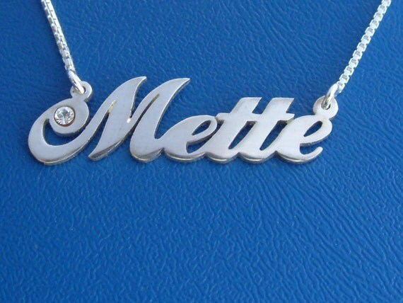Carrie Style Name Necklace with Swarovski Birthstone, double thick silver, names up to 13 letters
