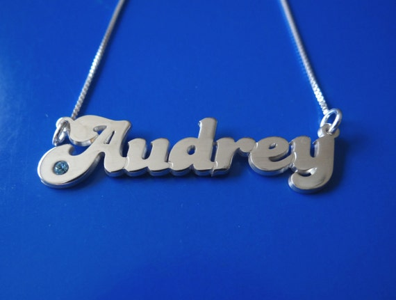 RETRO or Vintage Style Inspired Silver Name Necklace with Swarovski Birthstone, double thick silver, names up to 13 letters