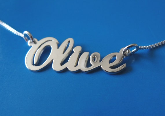 Double thick Silver Name Necklace Any Name up to 10 letters,