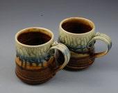 Mug - Medium  Brown Blue and Fern Green Handmade Porcelain by Mark Hudak