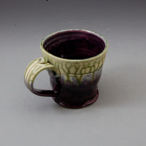 Wide Flared Mug - Eggplant Purple. Fern Green