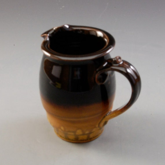 Pottery pitcher golden brown ebony brown  Porcelain by Mark Hudak