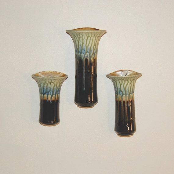 Pottery Wall Pocket Flower Vase Porcelain Brown Blue and Fern by Mark Hudak