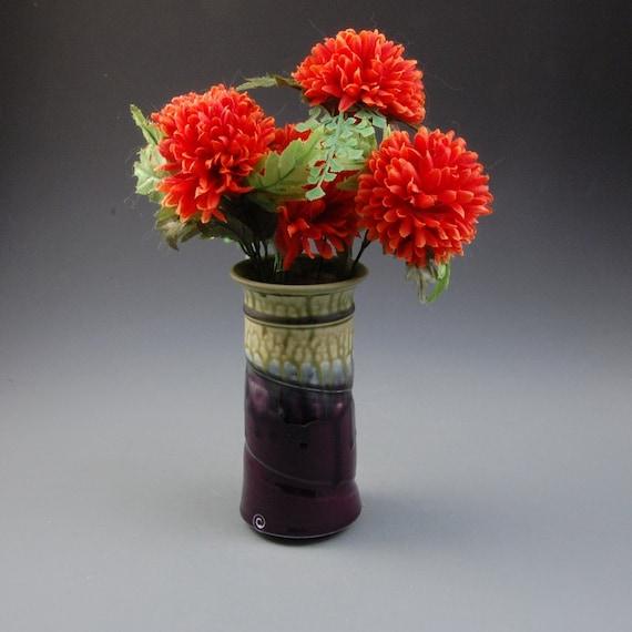 Vase Eggplant Purple Fern Green Vase Handmade Porcelain by Mark Hudak