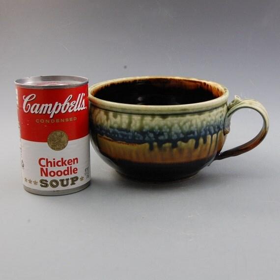Soup Bowl Ebony Brown Fern Green Blue Porcelain Handmade by Mark Hudak