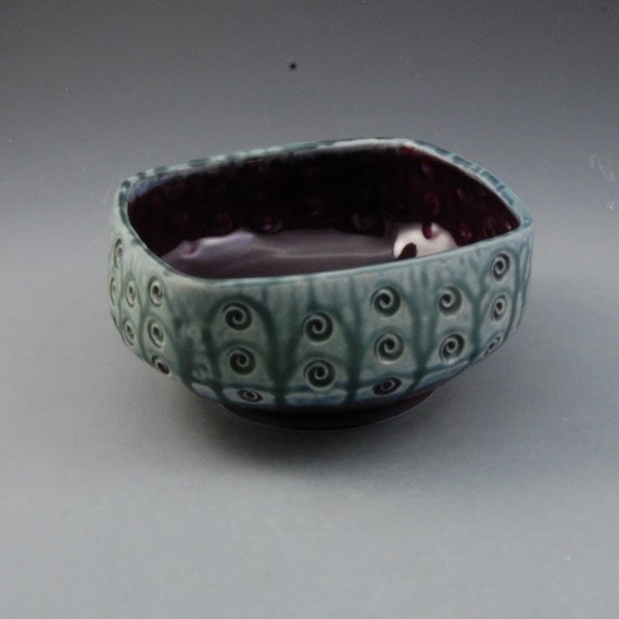 Eggplant Purple and  Teal Green Squared Bowl with stamped decoration Porcelain by Mark Hudak