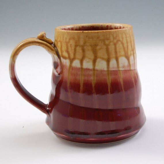 Mug Cranberry red  and golden brown handmade porcelain by Mark Hudak