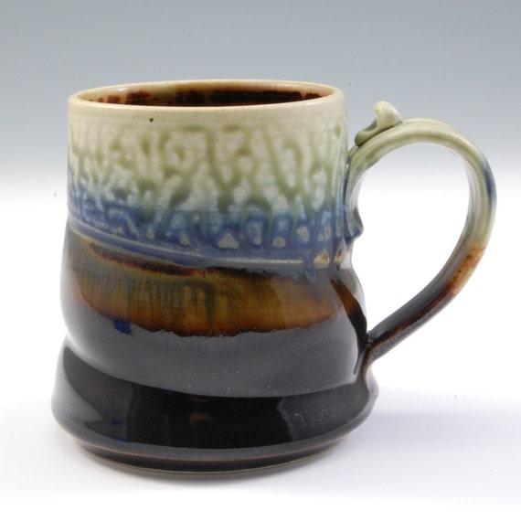 Mug - Ebony Brown, Blue and Fern Green