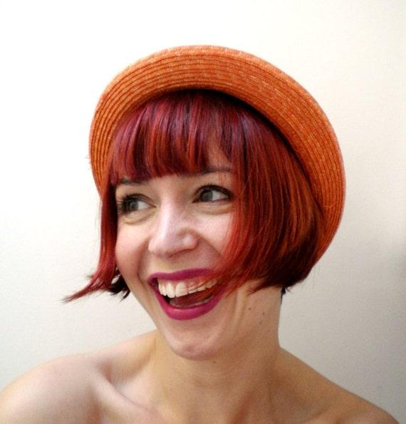 1980s Tangerine Orange Straw Bowler Hat