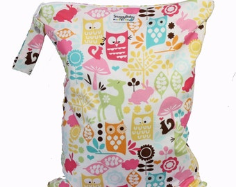 Large Wet Bag with Waterproof Lining and Zipper - Woodland Owls - FAST SHIPPING