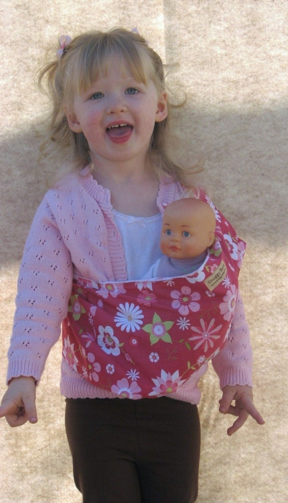 Childs Toy Baby Doll Pouch Sling Carrier in Pretty in Pink FAST SHIPPING