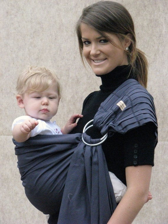 Baby Carrier Ring Sling Baby Sling -Slate Grey -FAST SHIPPING - Instructional DVD Included